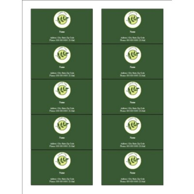 Green Sprig with Background Business Cards with Center Margin, 10 per sheet