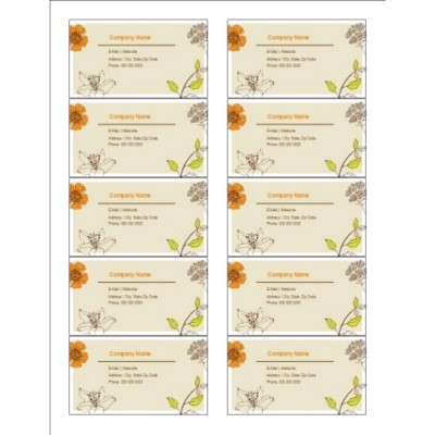 Simple Garden Business Cards with Center Margin, 10 per sheet