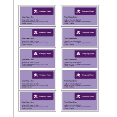 Classic Purple Business Card, 10 per sheet