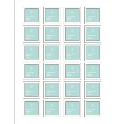 Turquoise and Brown Square Labels, 1.5