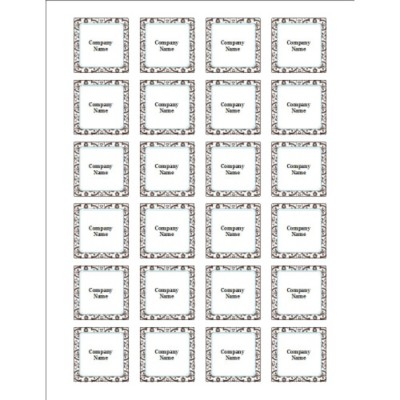 Classic Teal and Brown Pattern Square Labels, 24 per sheet