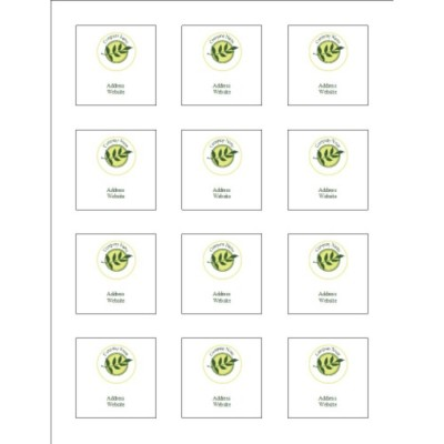 "Green Sprig Square Labels, 2.0"" x 2.0"""
