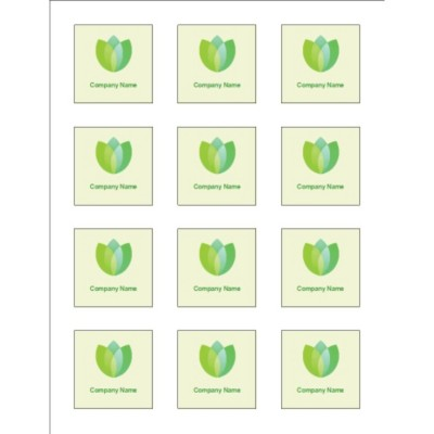 Green Blossom Square Labels, 2.0