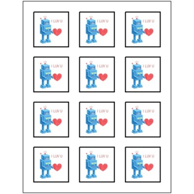 Valentine's Day Robot Print-to-the-Edge Square Labels, 12 per sheet