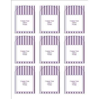 Classic Purple Stripes Print-to-the-Edge Arched Labels, 9 per sheet
