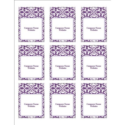 Classic Purple Pattern Print-to-the-Edge Arched Labels, 9 per sheet