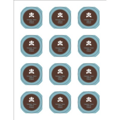 Classic Teal and Brown Print-to-the-Edge Round Labels, 12 per sheet
