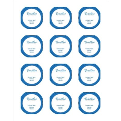 "Simple Logo Blue text 2"" Round Labels, 12 per sheet"