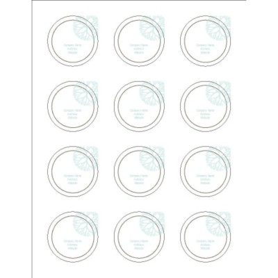 "Turquoise Flowers with Brown 2"" Round Labels, 12 per sheet"