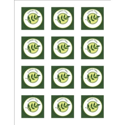 "Green Sprig 2"" Round Labels, 12 per sheet"