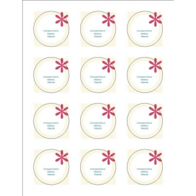 "Beige Stripes 2"" Round Labels, 12 per sheet"