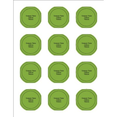 "Green Background 2"" Round Labels, 12 per sheet"