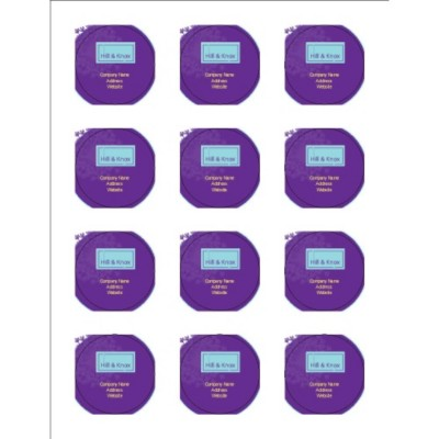 "Purple Background 2"" Round Labels, 12 per sheet"
