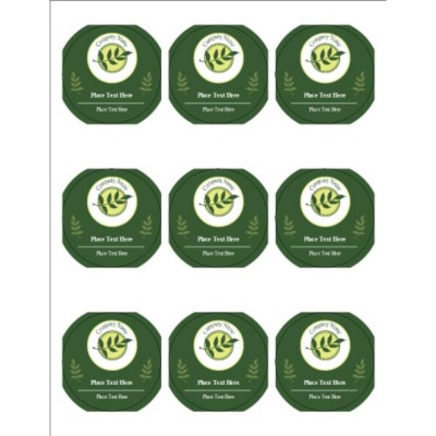 "Green Sprig with Background 2.5"" Round Labels, 9 per sheet"