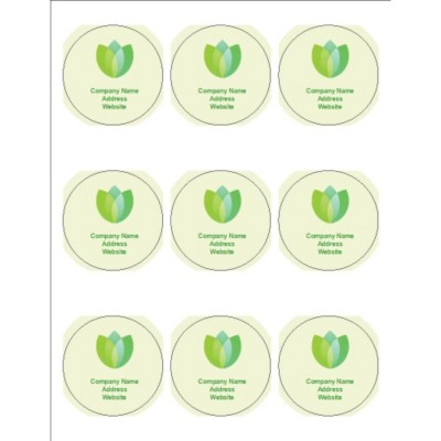 "Green Blossom 2.5"" Round Labels, 9 per sheet"