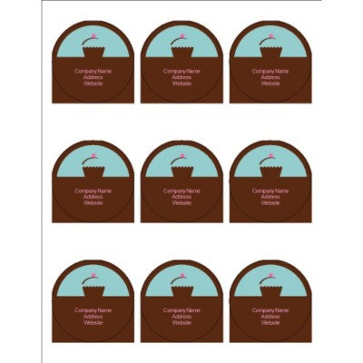 "Turquoise with Brown Block 2.5"" Round Labels, 9 per sheet"