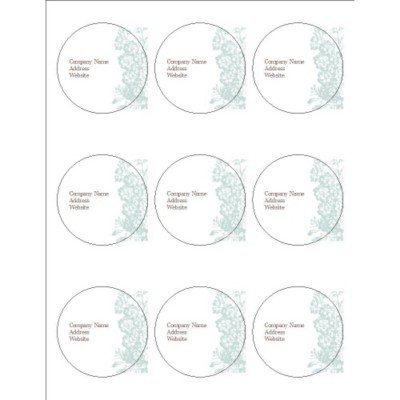 "Blue Flourish Design 2.5"" Round Labels, 9 per sheet"