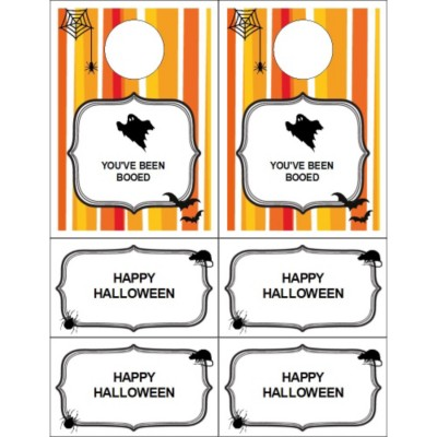 You've Been Booed with Stripe Pattern Door Hangers with Tear Away Cards , 2 per sheet