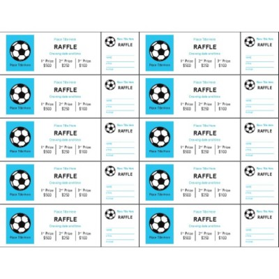 Sports Fundraising Tickets with Stub on Right, 10 per sheet