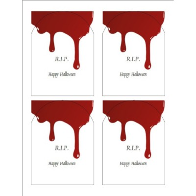 Halloween Dripping Blood Print-to-the-Edge Arched Labels , 4 per sheet