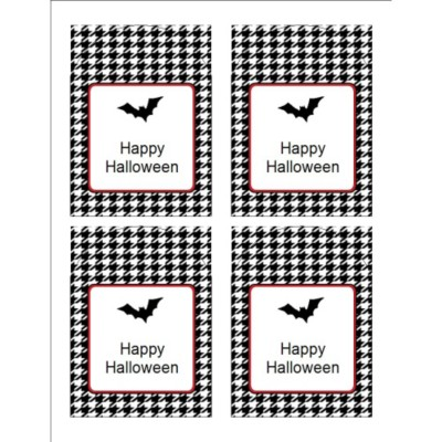 Halloween Bat with Houndstooth Pattern Print-to-the-Edge Arched Labels , 4 per sheet