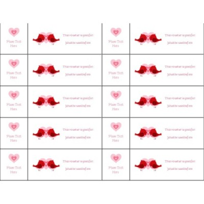 Valentine's Day Love Birds Tickets with Stub on Left, 10 per sheet