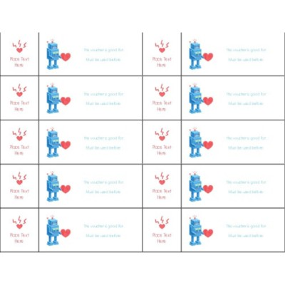 Valentine's Day Robot Tickets with Stub on Left, 10 per sheet