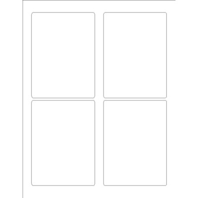 "Rectangular Labels 3 1/2"" x 4 3/4"", 4 per sheet"