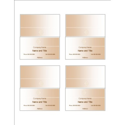 Beige Design Folded Business Cards, 4 per sheet