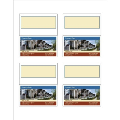Houses Folded Business Cards, 4 per sheet