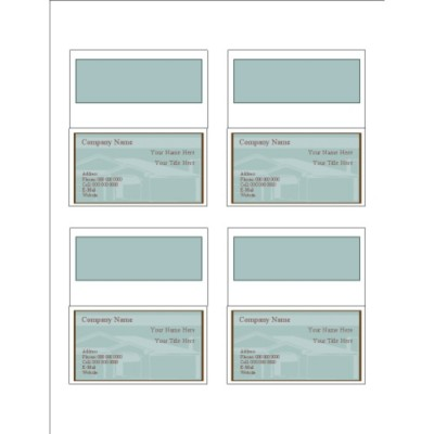 House Silhouette Folded Business Cards, 4 per sheet