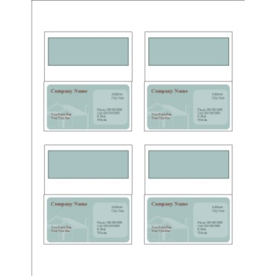 House Shadow Folded Business Cards, 4 per sheet