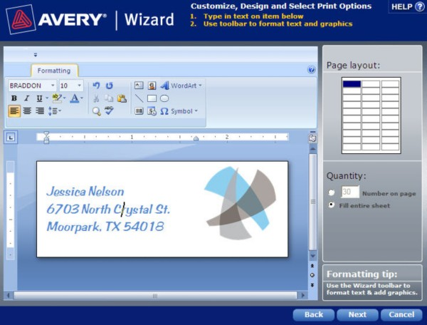 how to format an avery template in avery wizard software for