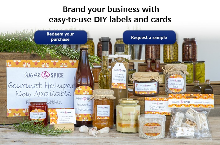 Brand your business with easy-to-use DIY labels and cards
