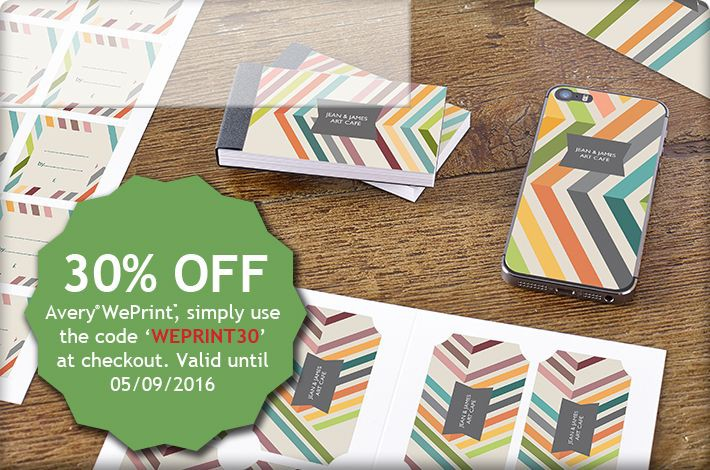 Design your own personalised binders, labels and more with 30% off Avery WePrint.