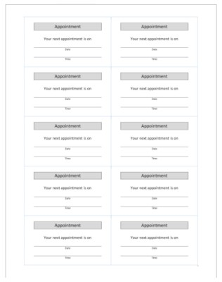 Appointment card template microsoft for Appointment cards templates free