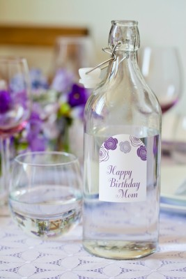 Make Bottled Beverages Bloom with Purple Rose Arched Labels