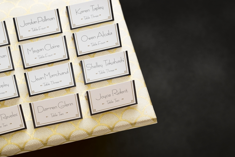 An art deco wedding for Design table name cards