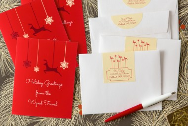 Greeting cards and arched labels, reindeer design