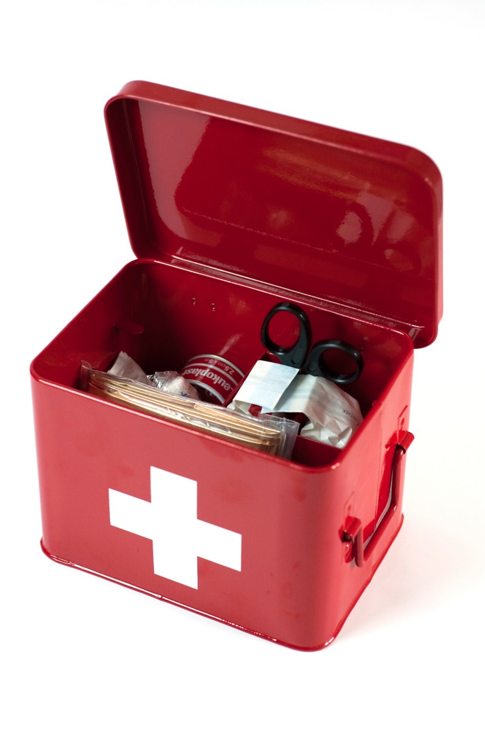The first aid kit is an essential item in most emergency kits.