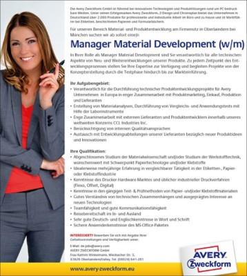 Manager Material Development