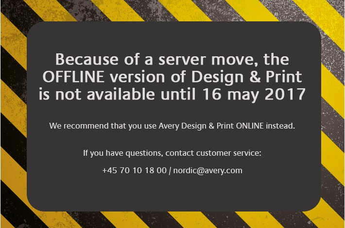 Avery Design & Print OFFLINE out of order