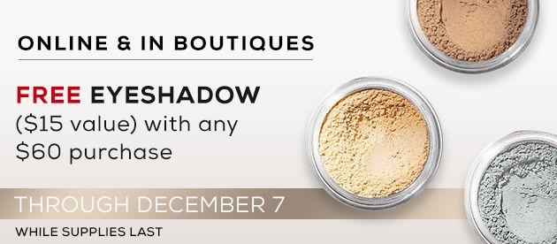 Holiday 2016 Free Eyeshadow with $60 Purchase