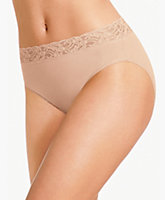 Cotton Suede With Lace Hi Cut Brief