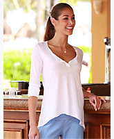 Split Neck Long Sleeve Top