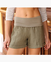 Short Linen Rollover Pant