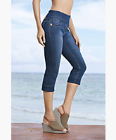 Toni Stretch Denim Pull On Capri