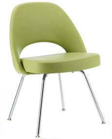 Saarinen Executive Side Chair with Metal Legs - Leather