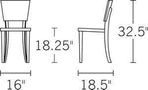 H 33; D 18.5; W 16; Seat D 15.5; Seat H 18;