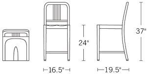 H 37; W 16.5; D 19.5; Seat H 24;